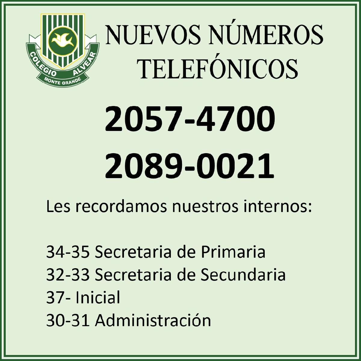 NUEVOS NUMEROS TELEFONICOS
